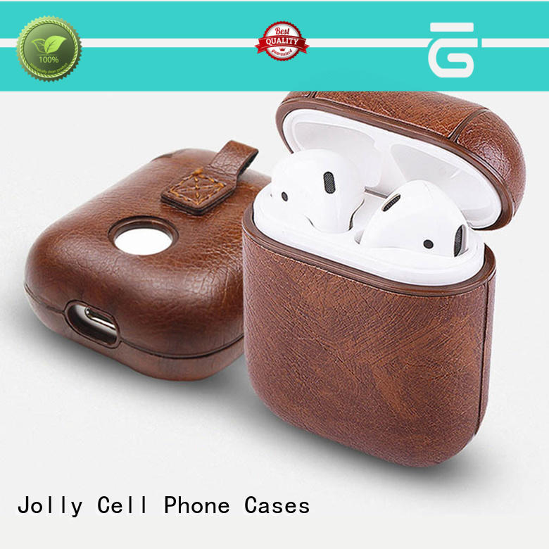 pu leather Airpods Case with button hole hollow for sale