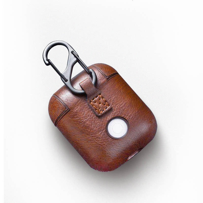 Anti-Lost Carabiner PU Leather Earphone Protective Case Cover For Apple Airpods DJS1111