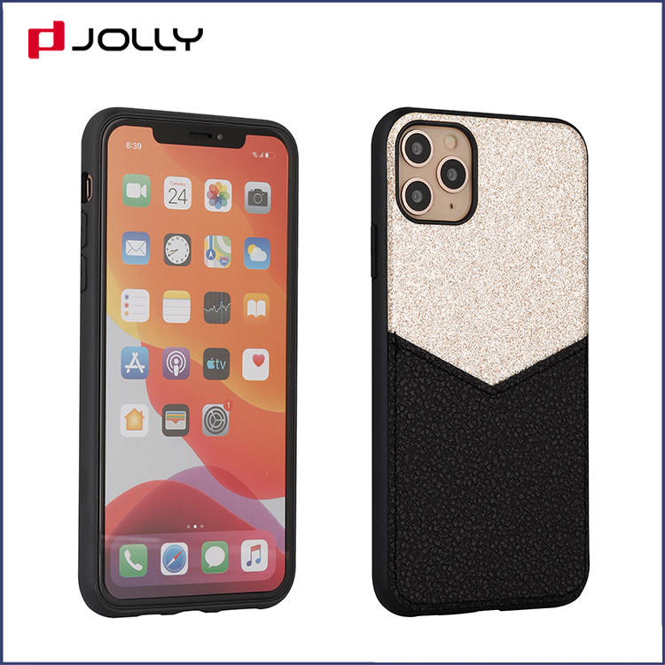 Glitter Mobile Phone Cover for iPhone 11, Fashionable Design Glitter Powder and Leather Phone Case DJS1689
