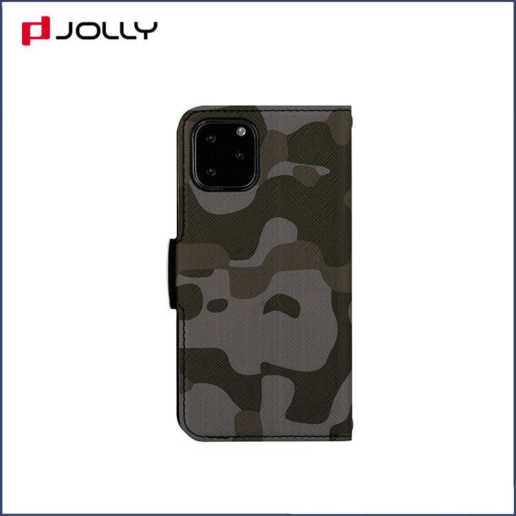 Apple iPhone 11 Pro Flip Leather Phone Case, Camo Saffiano Leather Wallet Case with Wrist Strap DJS1646