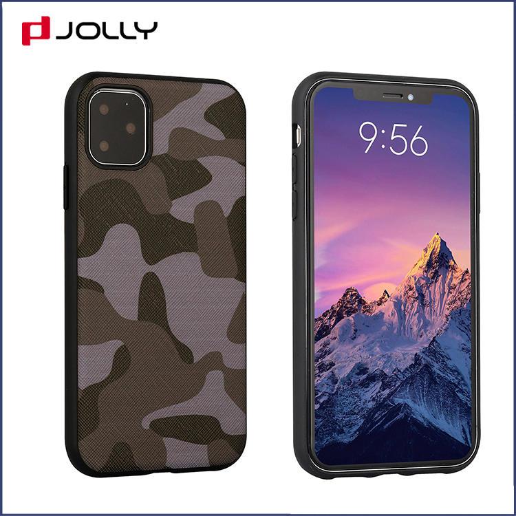 Camo Saffiano Leather Phone Case for iPhone 11 Pro, Camo Element Design Mobile Phone Back Cover DJS1636