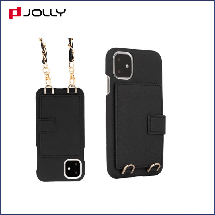 Crossbody Function Design Leathr Phone Cover for iPhone 11 Pro, Saffiano Leather Crossbody Mobile Phone Case DJS1684