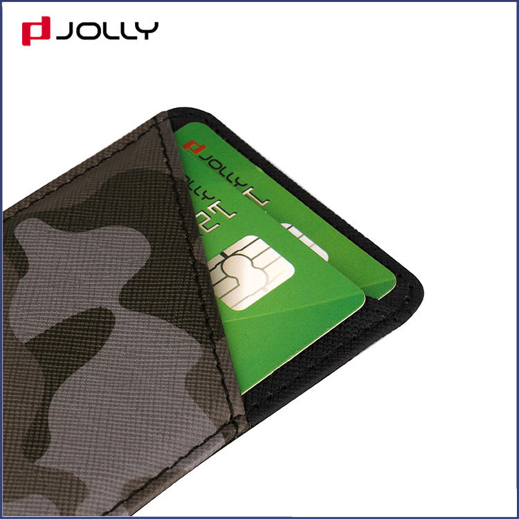 Back-side Camo Saffiano Leather Credit Card Holder DJS1642
